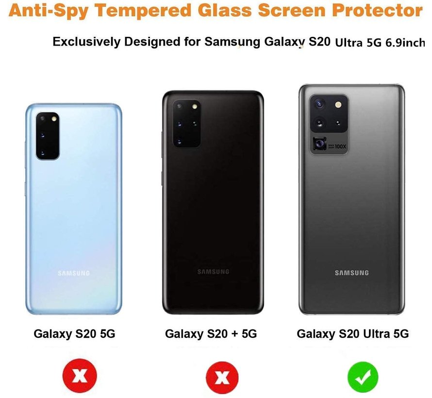 ShieldCase Tempered Glass Privacy Screenprotector Samsung Galaxy S20 Ultra