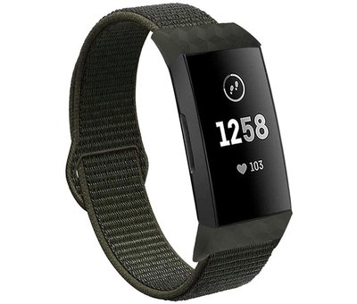 Fitbit Charge 3 nylon bandje (donkergroen)