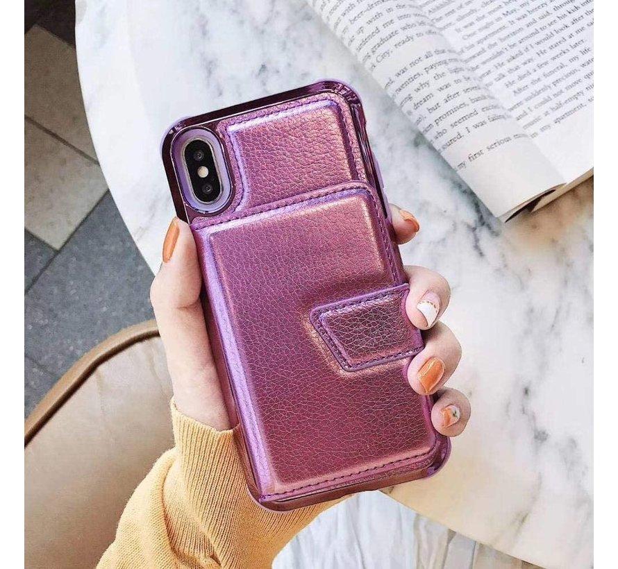 ShieldCase iPhone Xr wallet case met spiegel (roze)