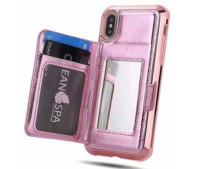 ShieldCase® ShieldCase iPhone Xr wallet case met spiegel (roze)
