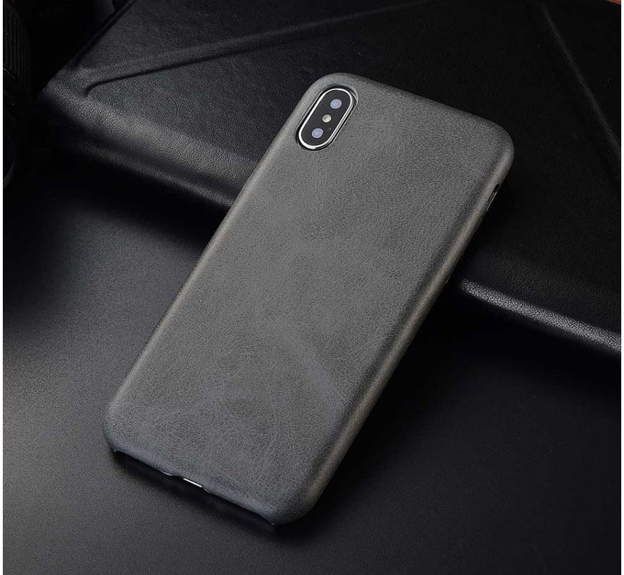 Shieldcase iPhone X / Xs hoesje leer (grijs)