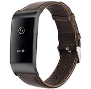 Fitbit Charge 4 leren bandje (donkerbruin)