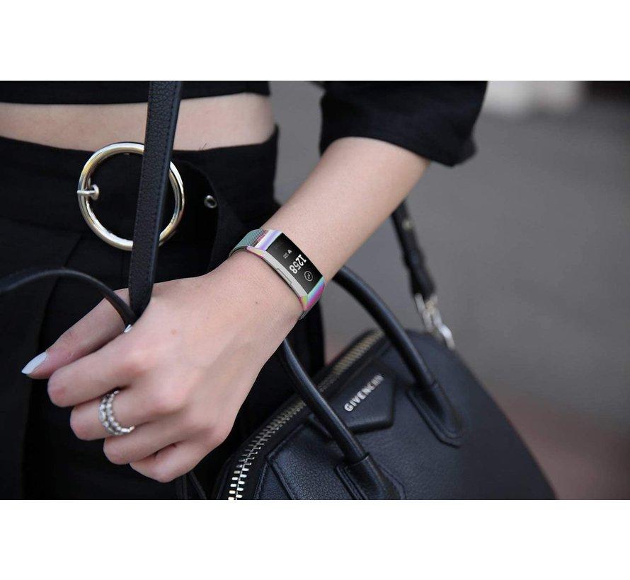 Fitbit Charge 4 Milanese band (regenboog)