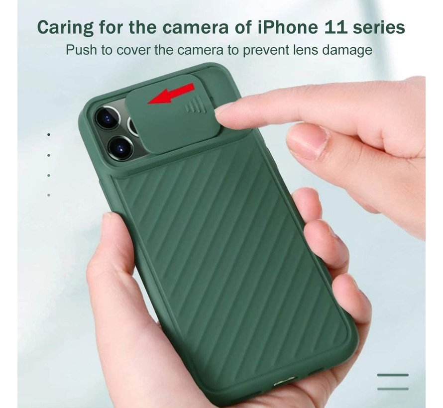 Shieldcase iPhone 11 Pro hoesje met camera slide cover (groen)