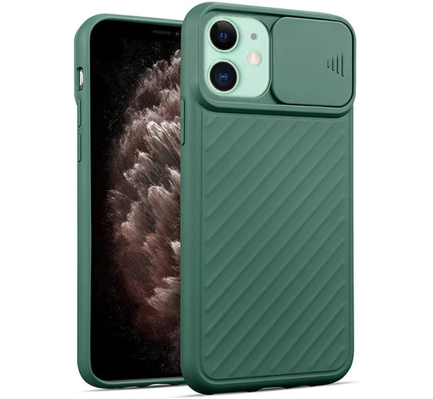 Shieldcase iPhone 11 hoesje met camera slide cover (groen)