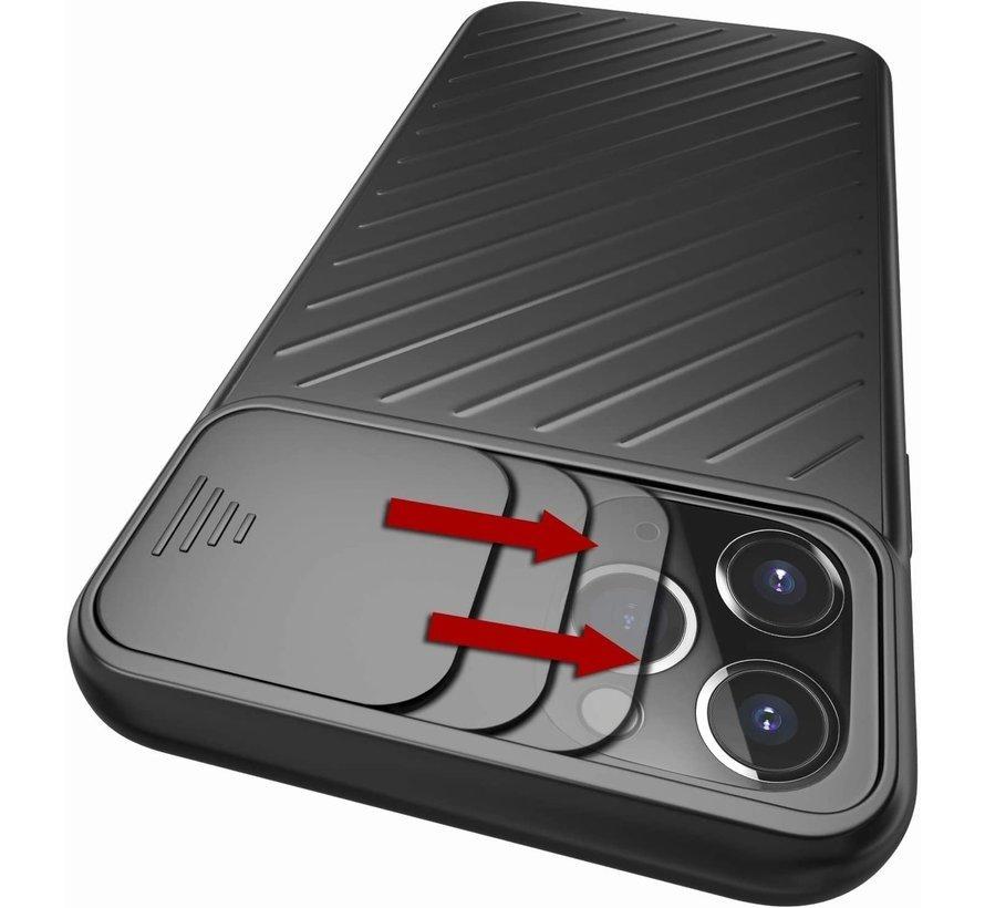 Shieldcase iPhone Xr hoesje met camera slide cover (zwart)