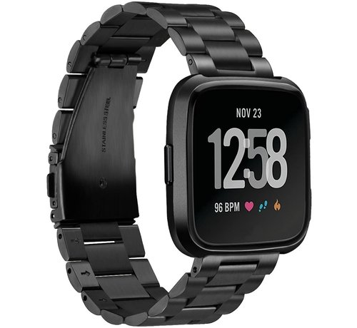 Fitbit Versa stalen bandje (zwart)