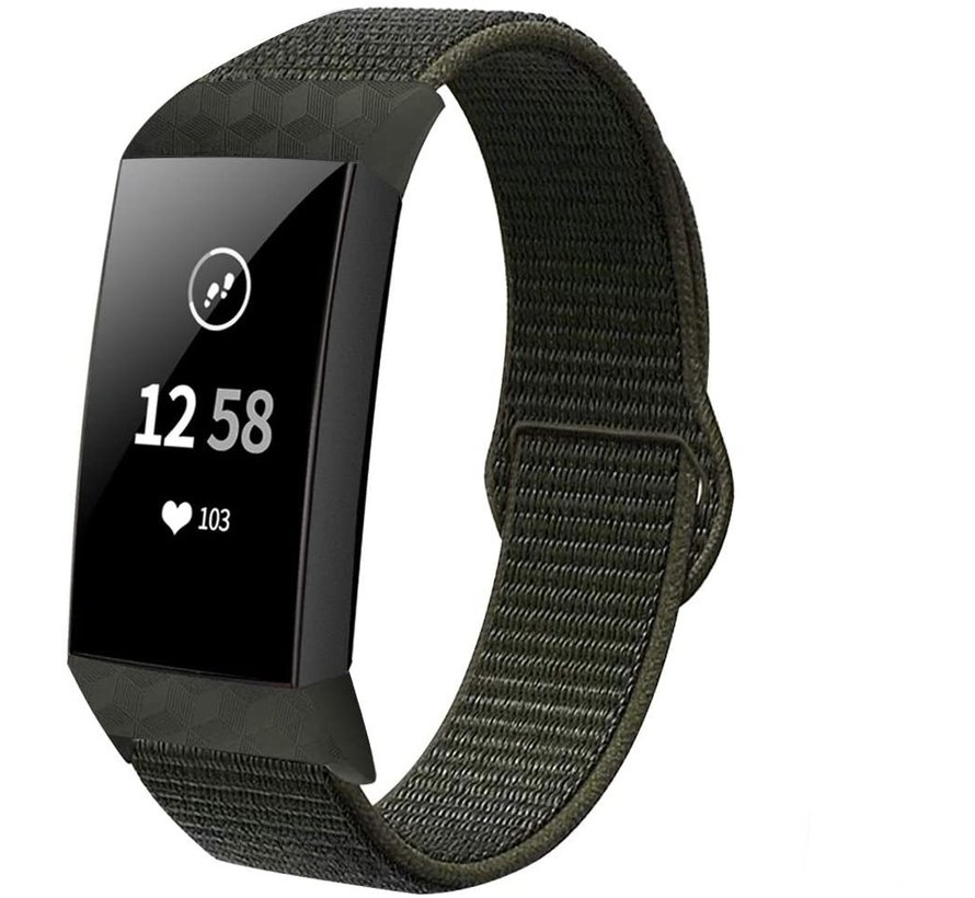 Fitbit Charge 4 nylon band (donkergroen)