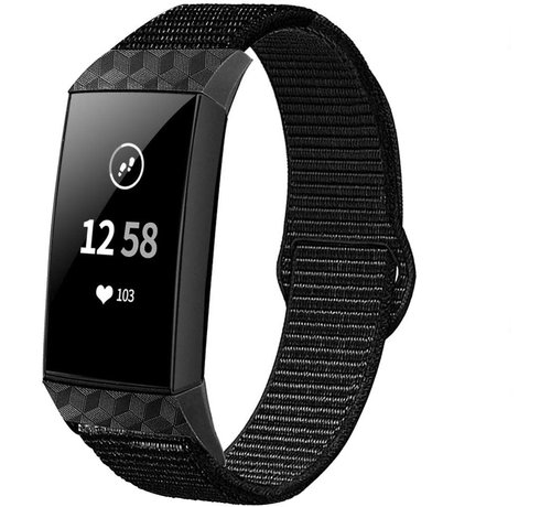 Fitbit Charge 4 nylon band (zwart)