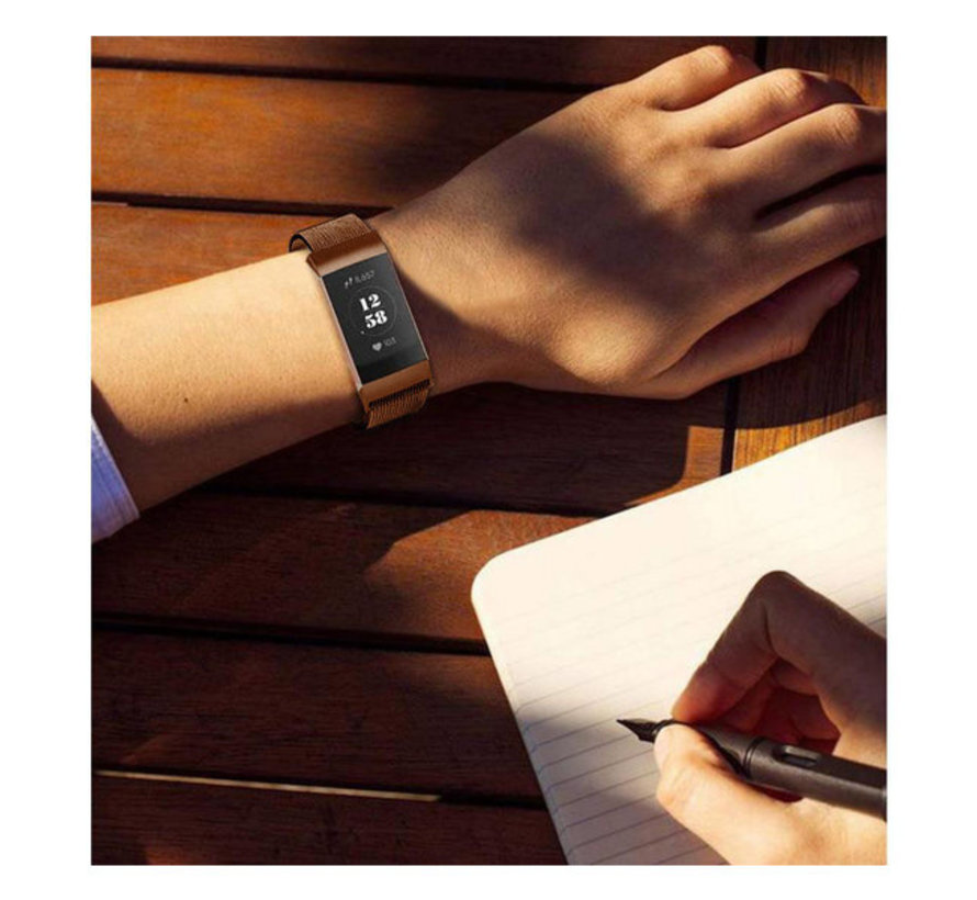 Fitbit Charge 3 Milanese band (bruin)