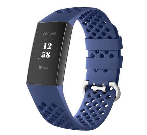 Fitbit Charge 4 siliconen bandje met gaatjes (donkerblauw)