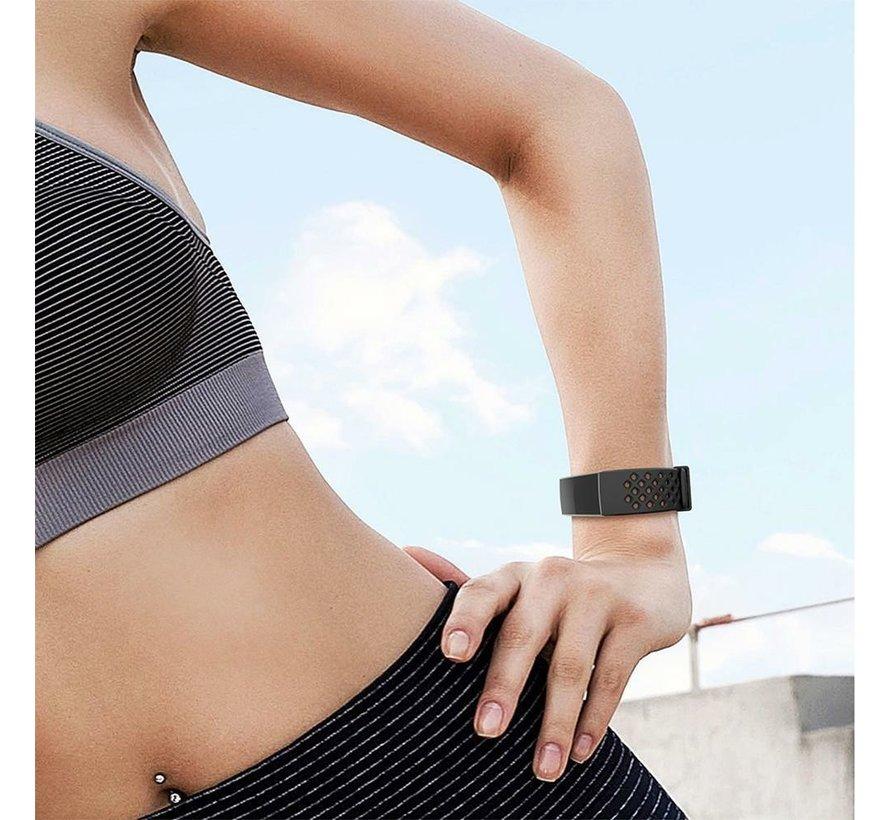 Fitbit Charge 3 siliconen bandje met gaatjes (zwart)