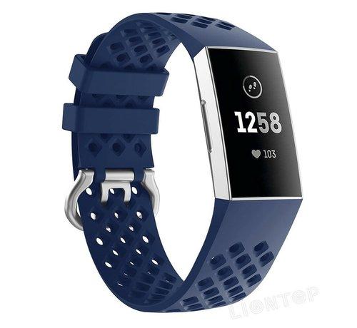 Fitbit Charge 3 siliconen bandje met gaatjes (donkerblauw)