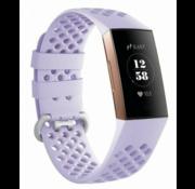 Fitbit Charge 3 siliconen bandje met gaatjes (lila)