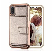 ShieldCase® iPhone Xs Max wallet case met spiegel (goud)
