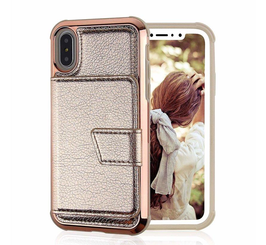 ShieldCase iPhoneXs Max wallet case met spiegel (goud)