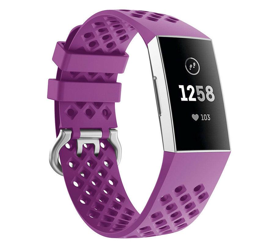 Fitbit Charge 3 siliconen bandje met gaatjes (donkerpaars)