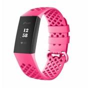 Fitbit Charge 4 siliconen bandje met gaatjes (roze)