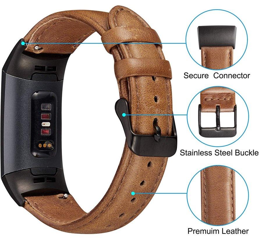 Fitbit Charge 3 leren bandje (bruin)