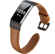 Fitbit Charge 4 leren bandje (bruin)