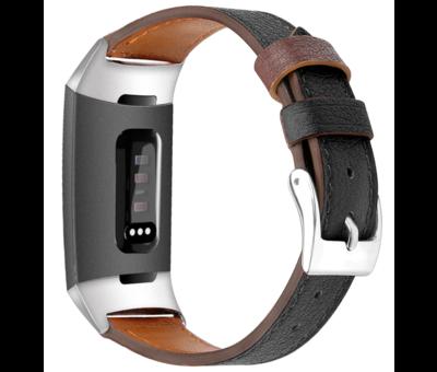 Fitbit Charge 3 leren vrouwenbandje (zwart)