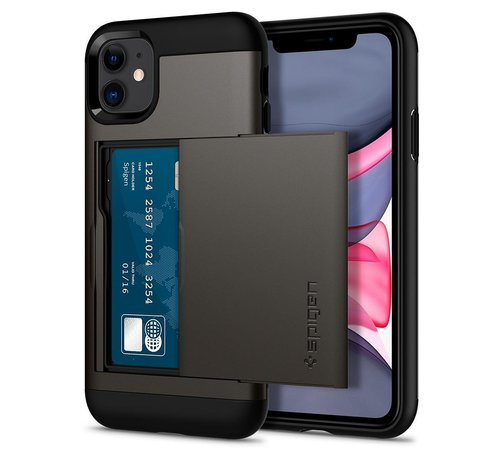 Spigen iPhone 11 Case Slim Armor CS ( Grijs / Zwart )