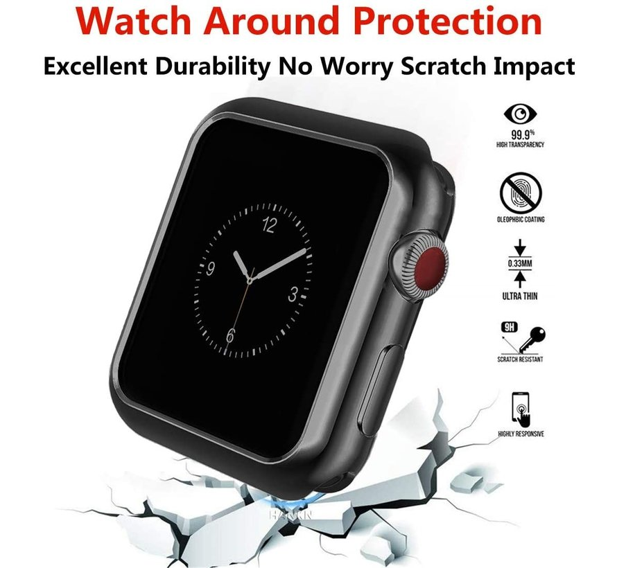 Apple Watch silicone case (zwart-metalic)