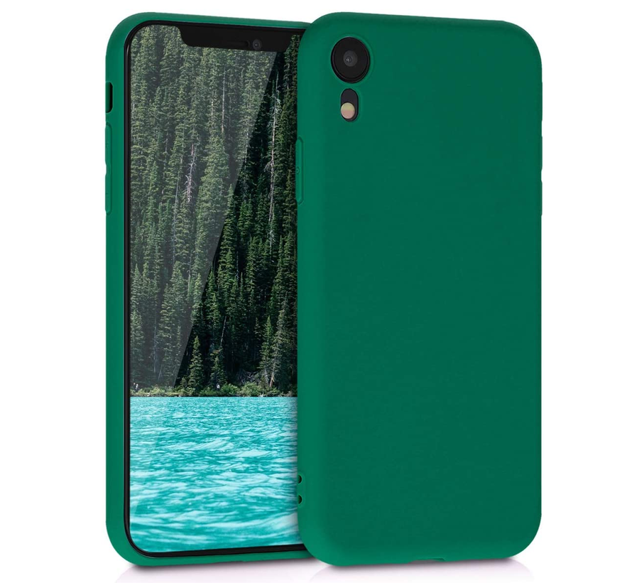 Shieldcase Siliconen hoesje met camera bescherming iPhone X / Xs (donkergroen)