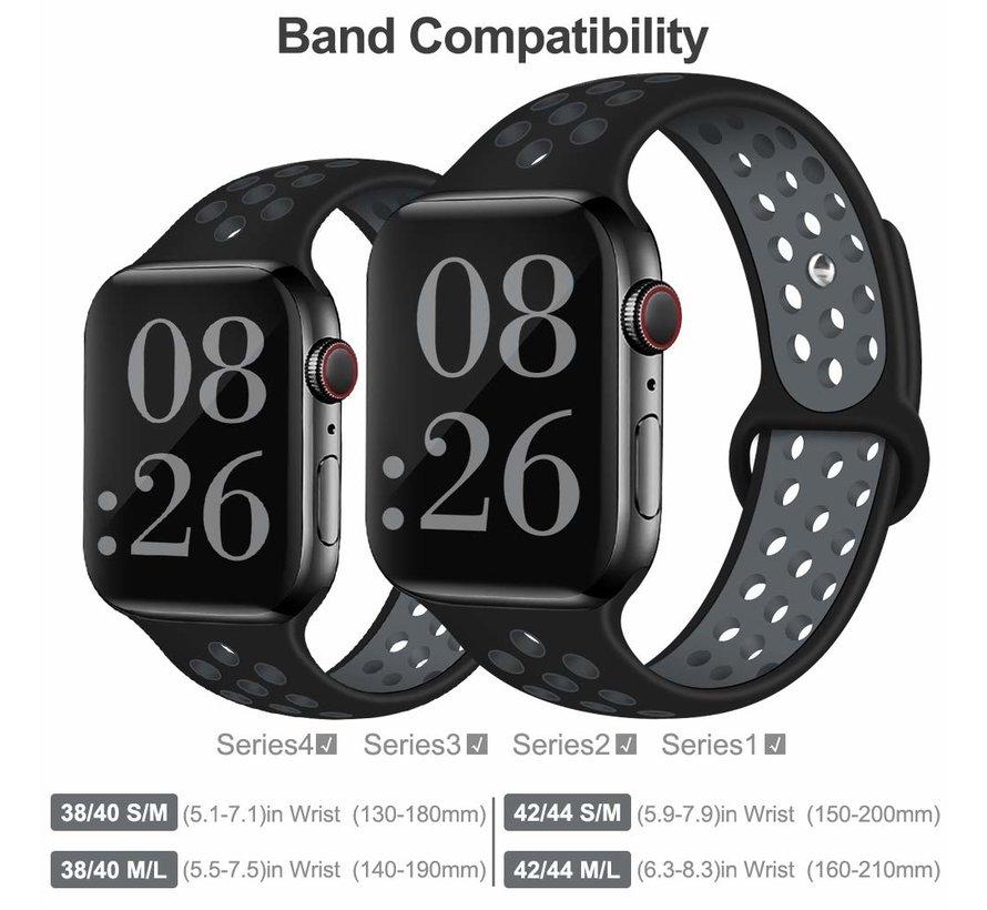 Apple Watch silicone sport+ band (zwart/grijs)