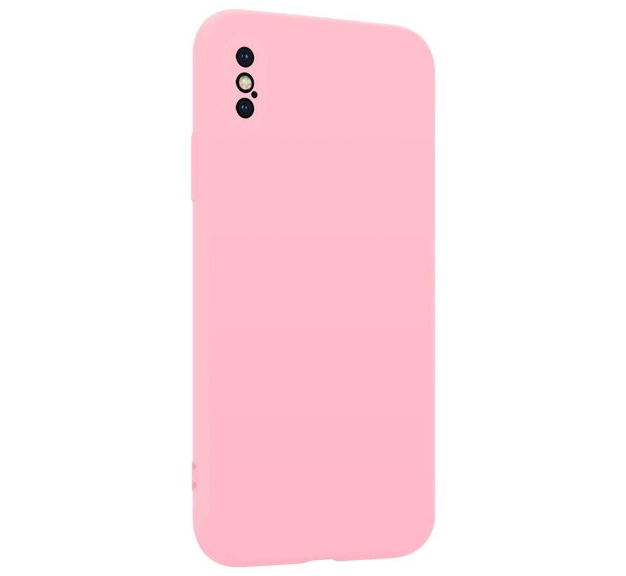 Shieldcase Siliconen hoesje met camera bescherming iPhone X / Xs (roze)