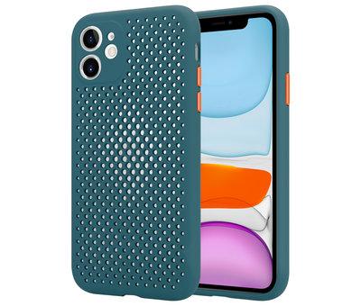 ShieldCase® Shieldcase siliconen hoesje met gaatjes iPhone 11 (donkergroen)