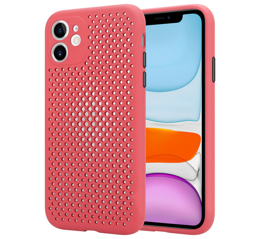 Shieldcase siliconen hoesje met gaatjes iPhone 11 (rood)