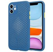 ShieldCase® Siliconen hoesje met gaatjes iPhone 11 (donkerblauw)