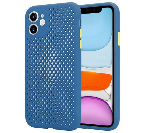 ShieldCase® Shieldcase siliconen hoesje met gaatjes iPhone 11 (donkerblauw)