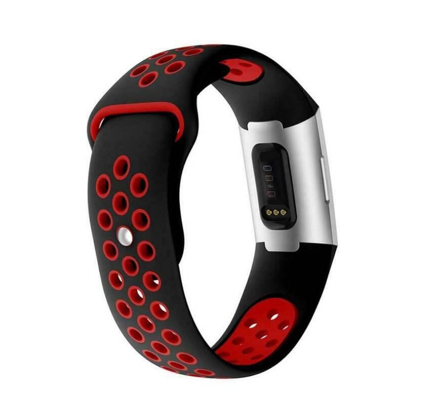 Fitbit Charge 3 sport band (zwart rood)