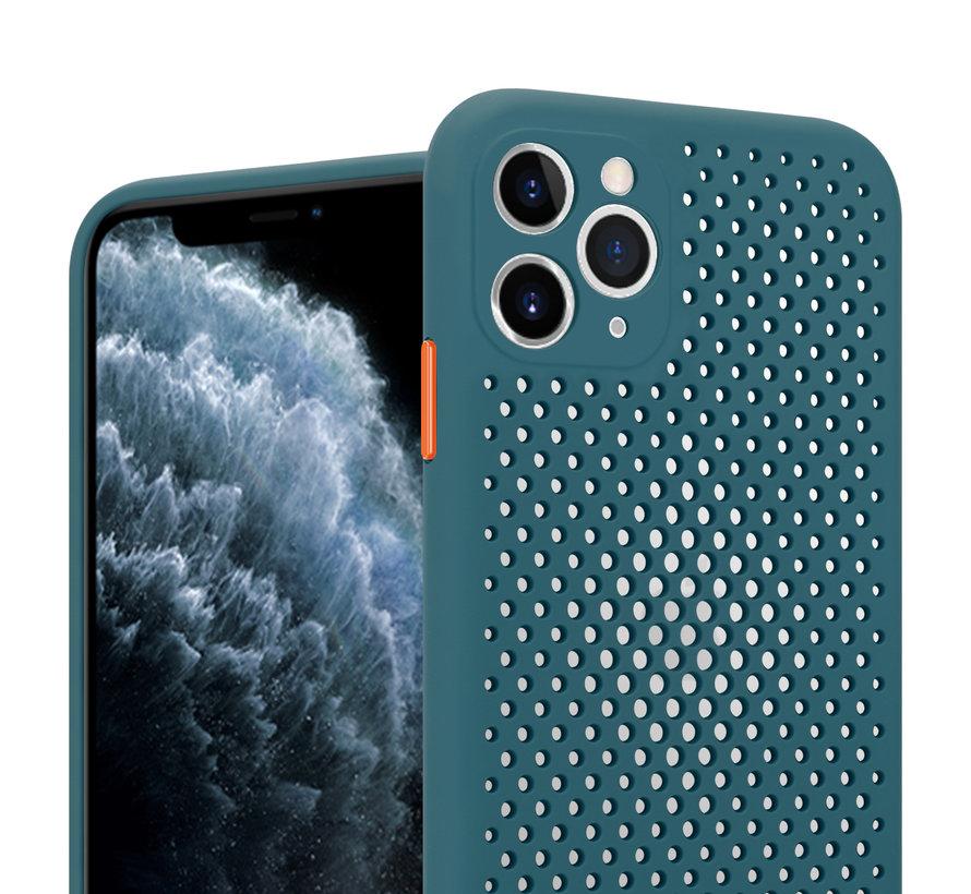 Shieldcase siliconen hoesje met gaatjes iPhone 11 Pro (donkergroen)