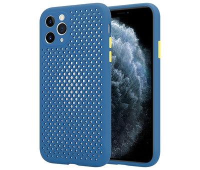 ShieldCase® Shieldcase siliconen hoesje met gaatjes iPhone 11 Pro (donkerblauw)