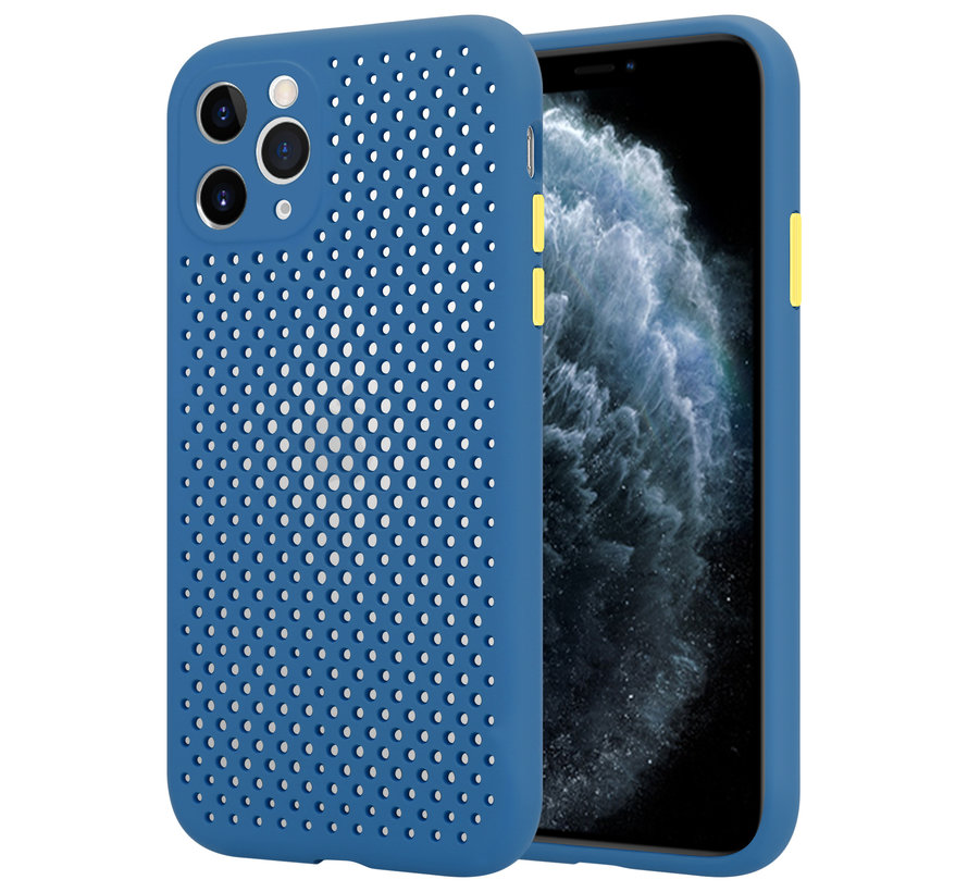 Shieldcase siliconen hoesje met gaatjes iPhone 11 Pro (donkerblauw)