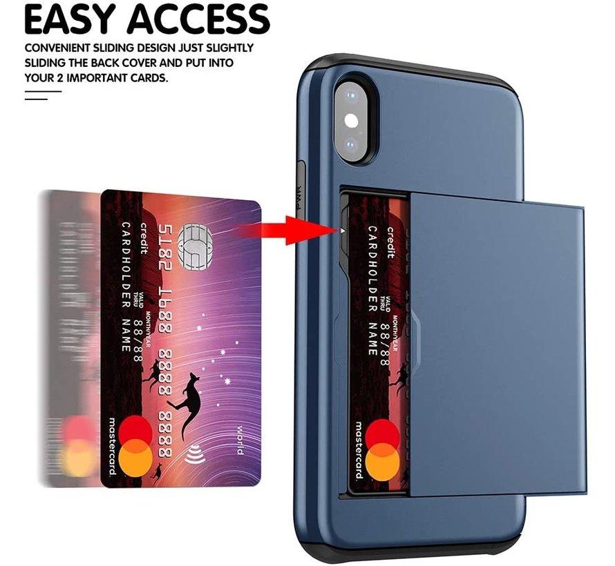 Shieldcase Kaarthouder case met slide iPhone X / Xs (blauw)