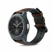 Samsung Galaxy Watch leren silicone band (zwart/bruin)