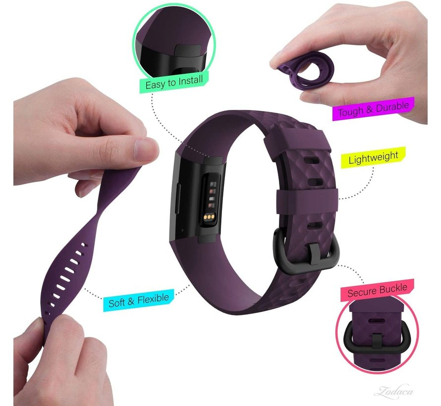 Fitbit Charge 4 silicone band (paars)