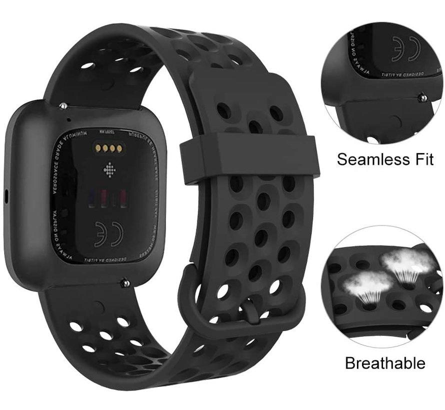 Fitbit Versa siliconen bandje met gaatjes (zwart)