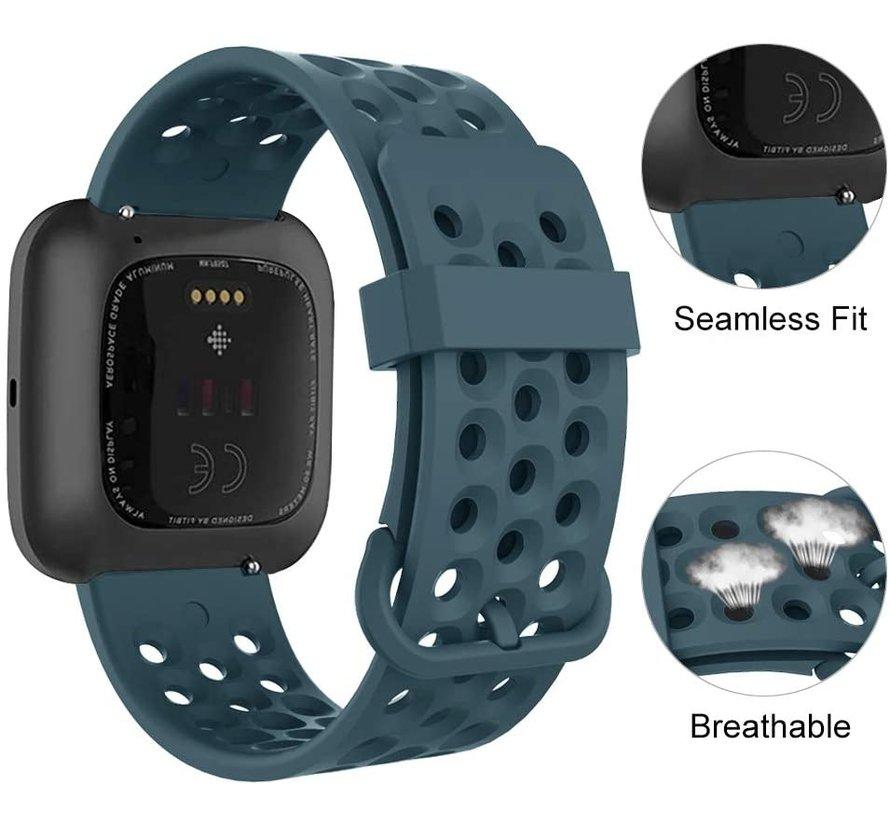 Fitbit Versa siliconen bandje met gaatjes (Grijsblauw)