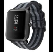 Xiaomi Amazfit Bip nylon gesp band (zwart/grijs)
