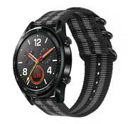 Huawei Watch GT nylon gesp band (zwart/grijs)