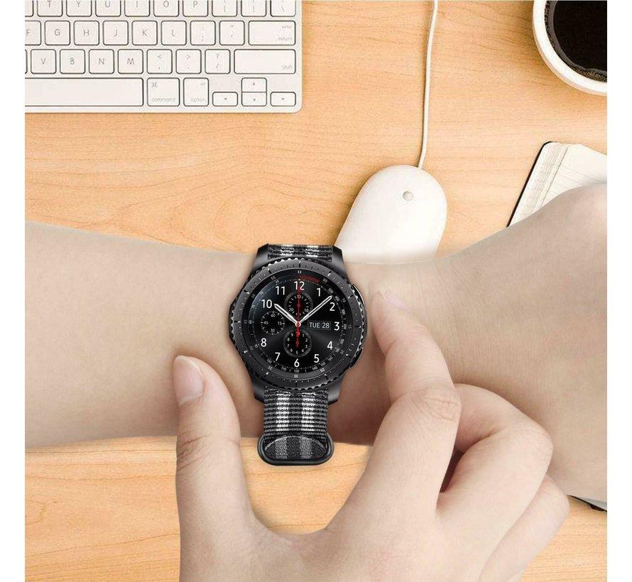 Samsung Galaxy Watch nylon gesp band (zwart/grijs)