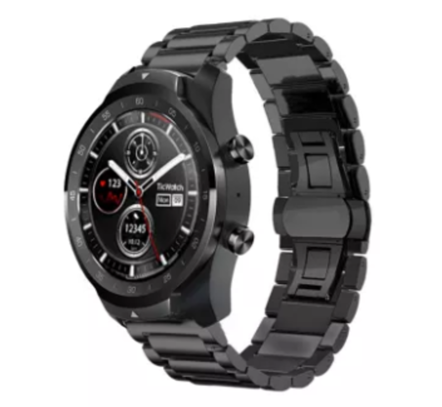 Ticwatch Pro stalen band (zwart)