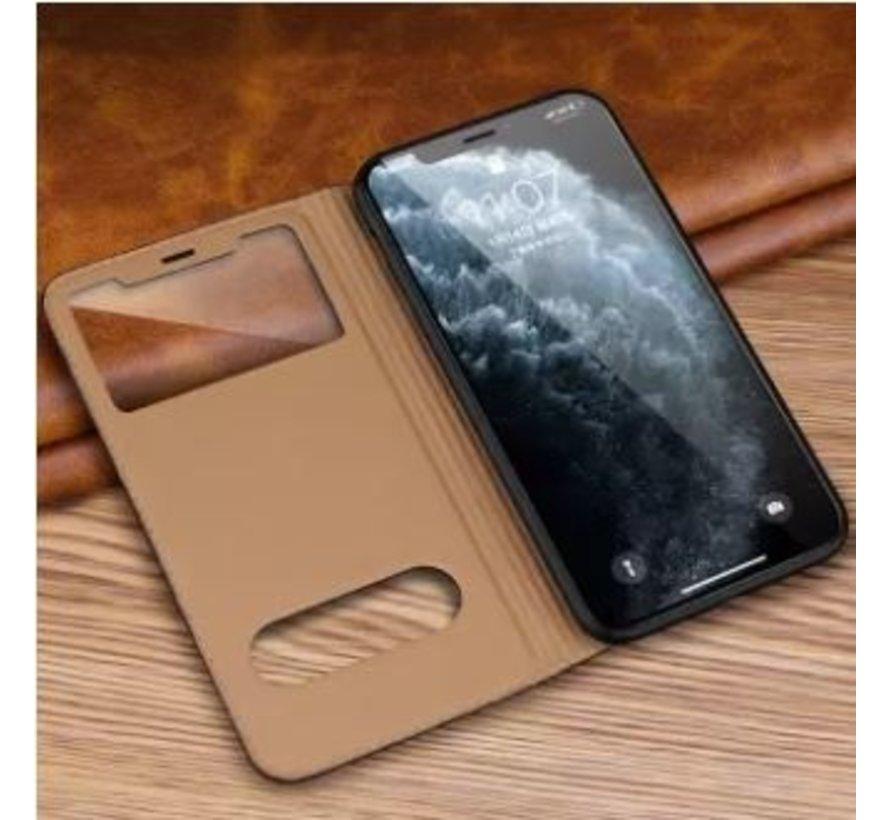 ShieldCase Flipcase met open scherm iPhone SE 2020 (bruin)