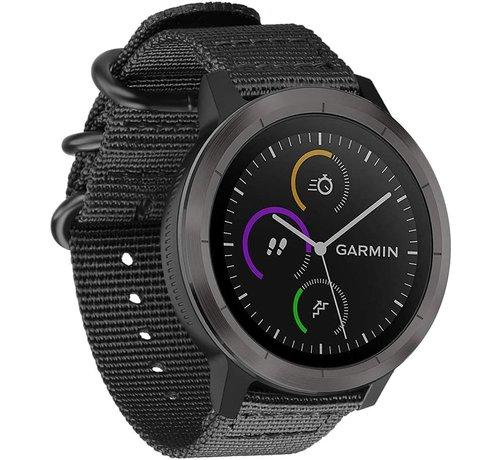 Garmin Vivoactive 3 nylon gesp band (zwart)