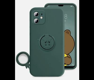 ShieldCase Shieldcase iPhone 11 siliconen hoesje met ring (donkergroen)
